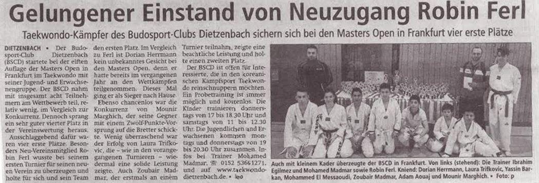 Zeitungsartikel Masters Open Frankfurt Mai 2016