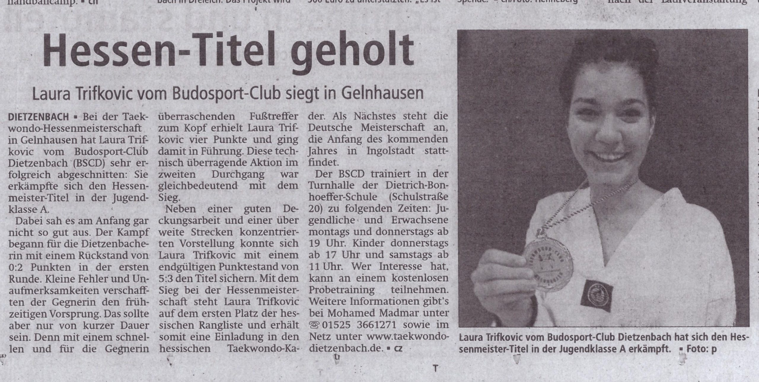 Zeitungsartikel Hessenmeisterschaft 2016